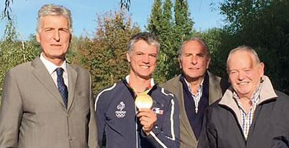 Notre Champion Olympique Karim Laghouag, entouré de G.Champion (1er adjoint à la mairie de Nogent le Rotrou), M.Levier et J.C Gotteri